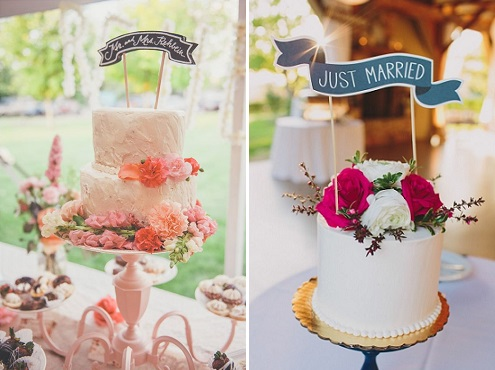 chalkboard-cake-toppers-banners-the-cheesecake-store-via-wedding-chicks-left-lauren-fair-photography-via-style-me-pretty-right